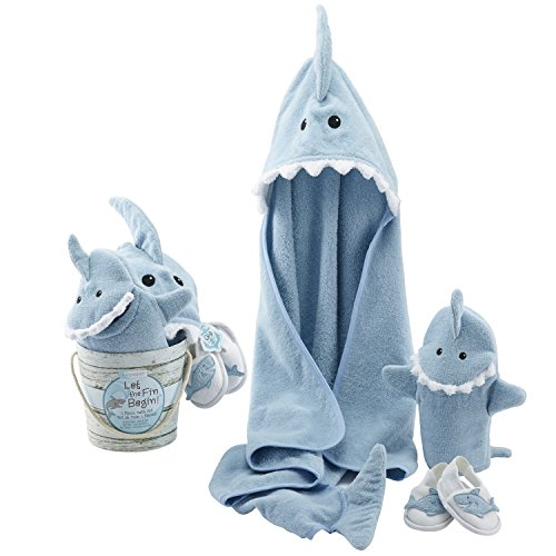 Baby Aspen Four-Piece Gift Set, Let The Fin Begin, Blue ()