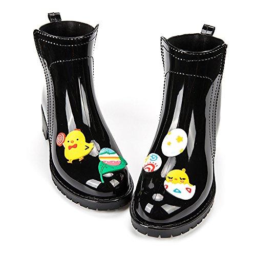 DKSUKO Women's Ankle Short Boots with Cartoon Applique-3 Types-Waterproof Rain Boots Egg