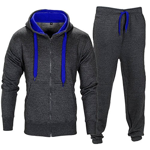 Mens Contrast String Fleece Hoodie Top Bottoms Joggers Gym Draw Code Tracksuit