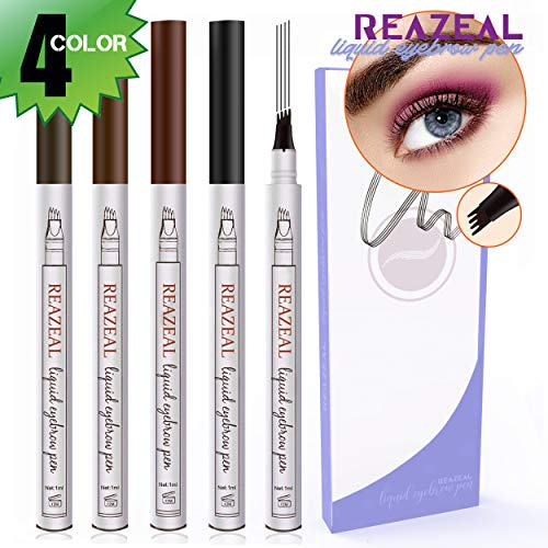 Eyebrow Pencil (4 Pack 4 colour), Eyebrow Tattoo Pen Microblading with Three Tips (for free), Natural Tint Dye Cream for Eyes Makeup Creates Natural Looking Brows Effortlessly and Stays on All Day