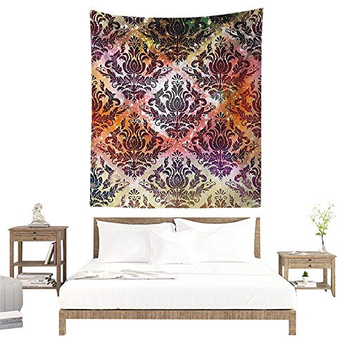 alisoso Wall Tapestries Hippie,Damask Geometric Decor,Abstract Watercolor Chandelier Oriental Victorian Ornamental,Coral Yellow Purple Green W63 x L63 inch Tapestry Wallpaper Home Decor