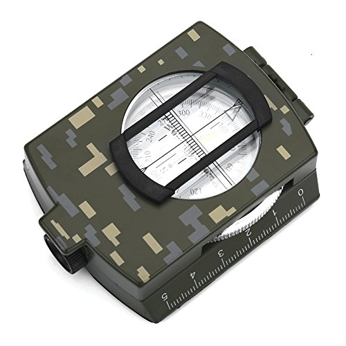 Focket Outdoor Military Sighting,Multifunctional Military Lensatic Sighting Compass Waterproof Dial Compass Military Navigation Compass for Camping Hiking and Other Outdoor Activities (Camouflage)