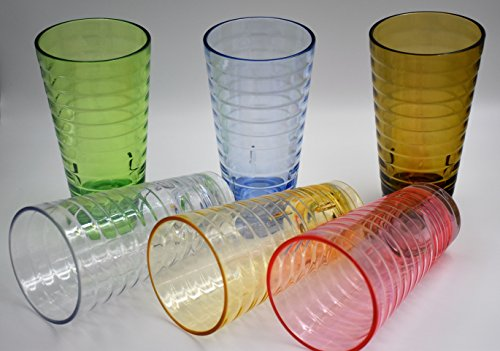 ActiveFloo Thick Premium Quality BPA Free Plastic Glasses / Acrylic Tumblers Set of Six 22oz Assorted Colors For Water, Ice Tea, Coffee, Beer (Large Stacking Coffee Cups compare prices)