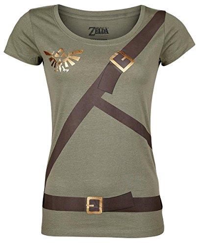 The Legend of Zelda Link Belt Camiseta Mujer Aceituna S