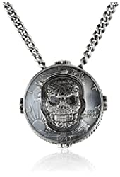 King Baby Unisex Liberty Half Dollar with Carved Baroque Skull Pendant Necklace