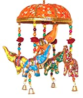 Indian Traditional Elephant Yellow Umbrella Hanging Layer Of Five Elephant Door Hanging , Decorative Hanging