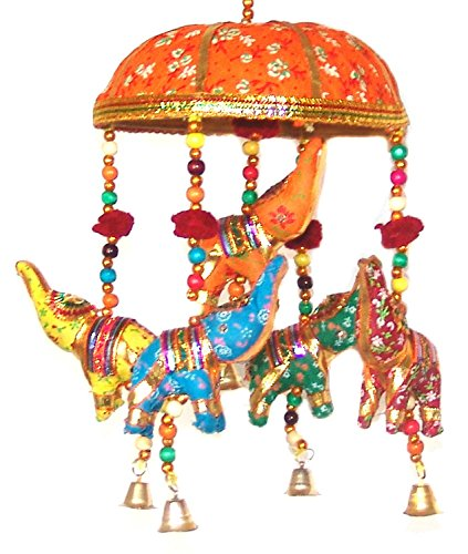 (Indian Traditional Elephant Orange Umbrella Hanging Layer Of Five Elephant Door Hanging , Decorative Hanging)
