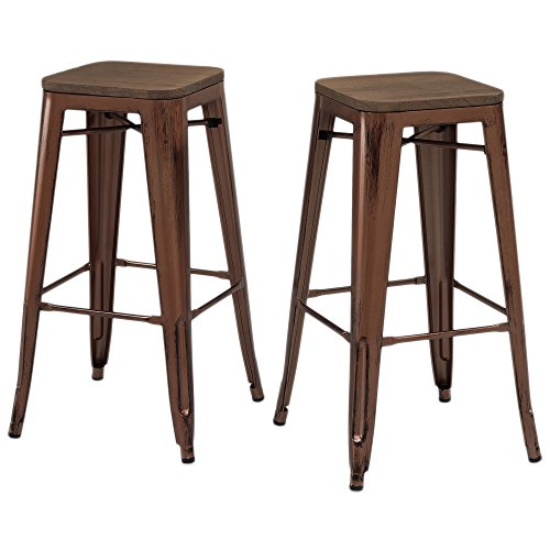 Set of 2 Antique Copper Tolix Style Metal Bar Stools with Wood Seat in Glossy Powder Coated Finish Includes ModHaus Living (TM) Pen
