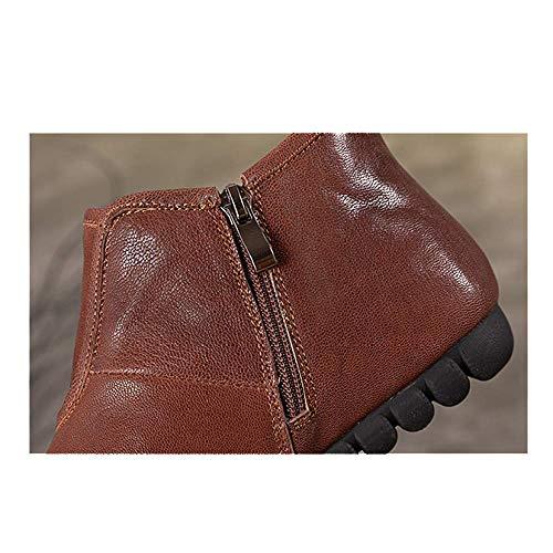 Décontracté ZPEDY Fermeture Mesdames Café Cuir éclair Vintage en Confortable Chaussures Portable 0T0rqO