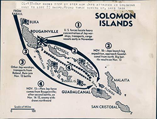 Vintage Photos 1942 Photo WW2 Era Map Solomon Islands Japanese Attack Ships Guadalcanal Buka ()