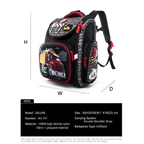 Delune Folding School Backpack for Kids Waterproof Red Truck Bookbag for Boys by Delune (Image #4)