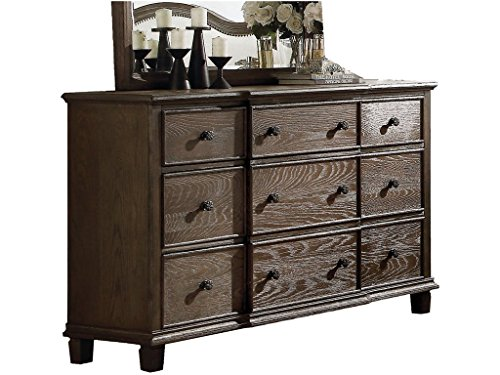 Major-Q Elegance Traditional Weather Oak Finish 9-Drawer Dresser for Bedroom (Loft 9 Drawer Dresser)