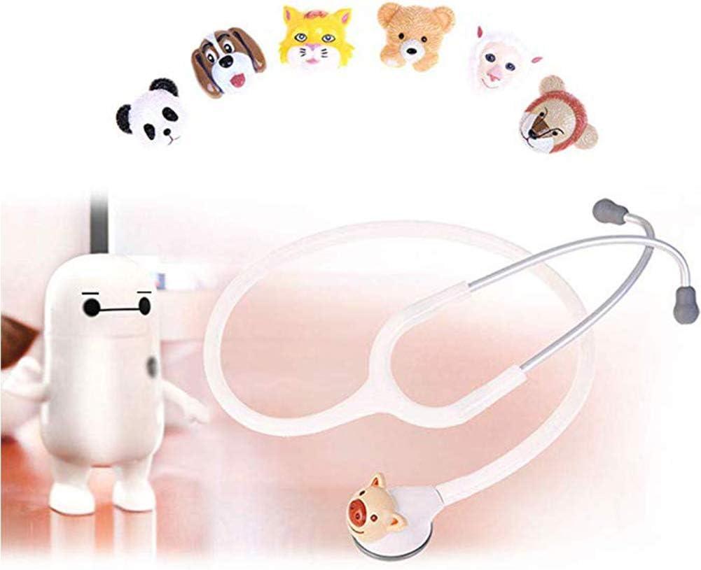 WSN Estetoscopio de Doble Cabeza Estetoscopio pediátrico, médico único Ultraligero para monitorización cardíaca de Primeros Auxilios con 6 Cabezas de Animales,Blanco