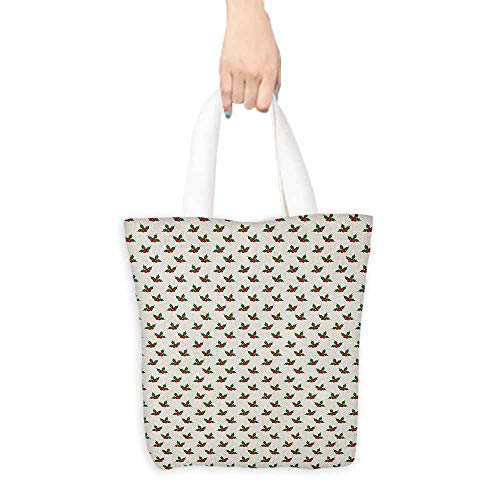 - Canvas shopping bag,Christmas Holly Berries Mistletoe Fruit Pattern Seasonal Symbol of Peace Theme Print,Reusable Grocery Bags,16.5