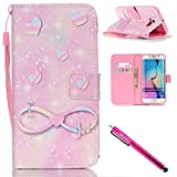 Bags Under Eyes Because of Glasses Galaxy S6 edge Case, Firefish [Kickstand] Design [Card/Cash Slots] Premium PU Leather Wallet Flip Cover with Wrist Strap for Samsung Galaxy S6 edge-Love