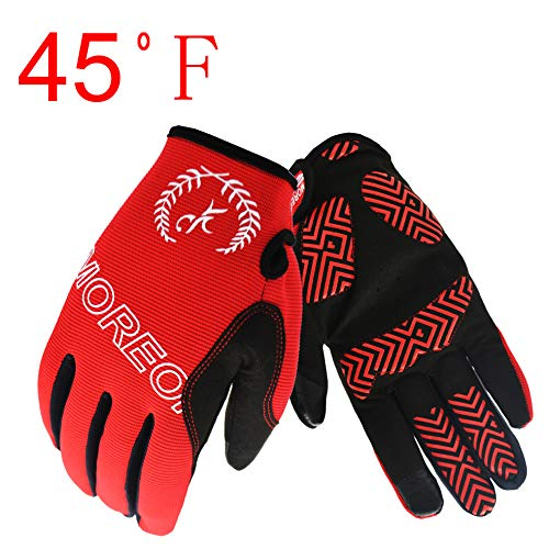 Digital Gloves Riding (MOREOK Full Finger Winter Ski Thermal Reflective Stripe Cycling Gloves Touch Screen & Slicon Pading Motorcycle Bicycle Bike Sport Warm Gloves Outdoor Driving Men/Women (Deep Red, XL))