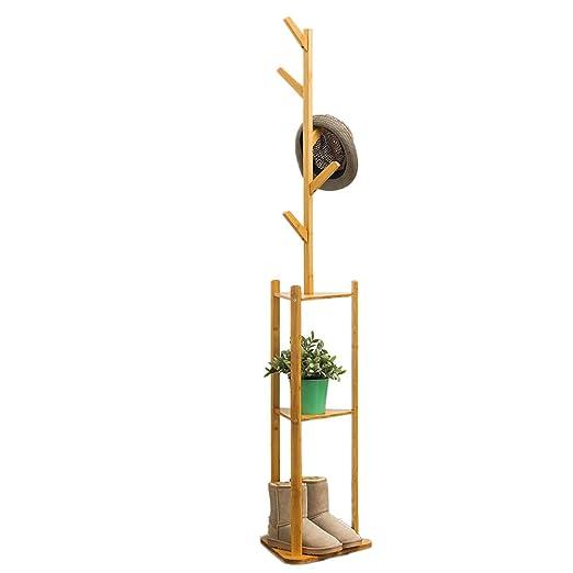 Madera sólida Perchero de pie, Moderno Soporte de árbol Perchero con Ganchos y estantes de Almacenamiento 3 Niveles, Múltiples Funciones Independiente ...