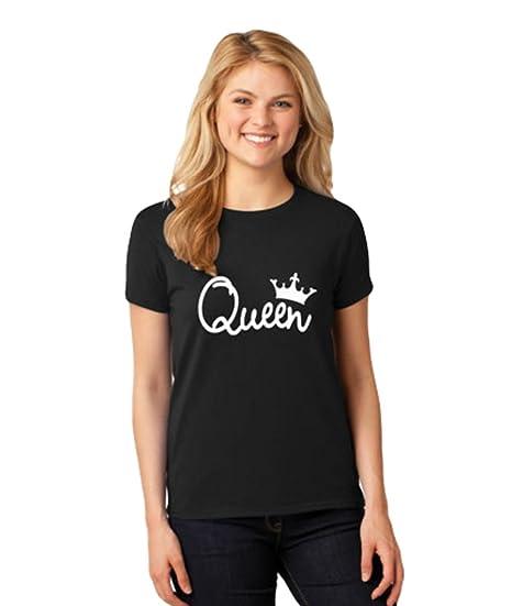 ZKOO King Queen Kaiserkrone Druck T-Shirt Paar Kurze Ärmel T-Shirts Pärchen Liebhaber T-Shirts Tops Geschenk Herren Frauen