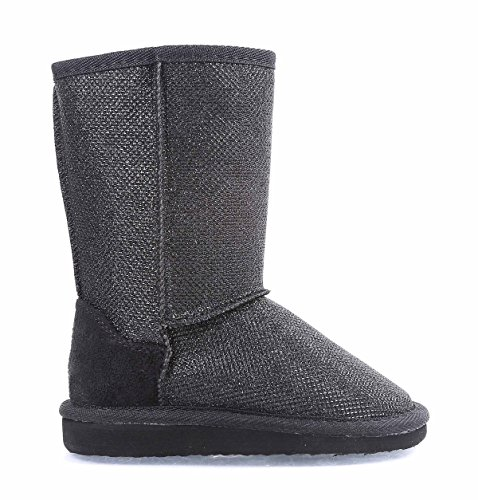 New Kids Girls Winter Season Cold Weather Fur Lined Glitter Mid-Calf Warm Boots (9, Black)