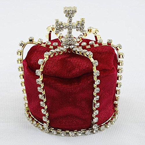 Red Velvet Full Circle Round Prince Baby Flower Boy Cross Handmade Mini Crown T1805