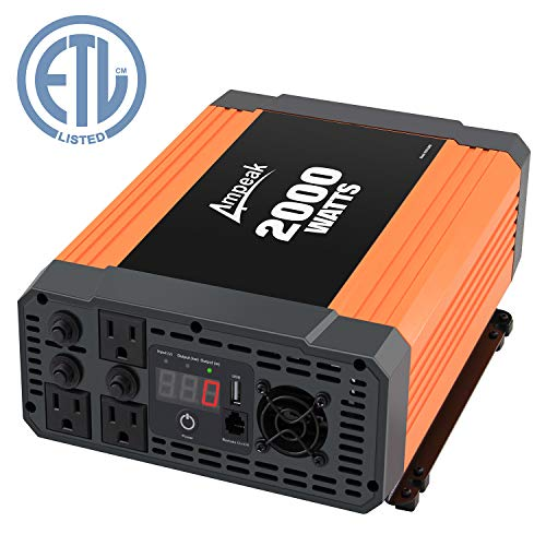 (Ampeak 2000W Power Inverter 3 AC Outlets DC 12V to 110V AC Car Converter 2.1A USB Inverter )