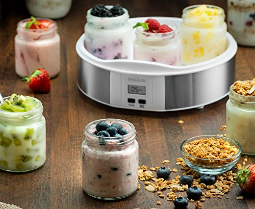 Baulia YM805 Auto Yogurt Maker, Includes 7 Glass 6 Oz Jars and Lids, Custom Flavor and Thickness, Silver by Baulia (Image #4)