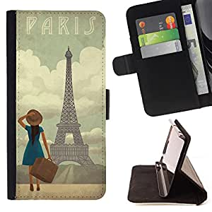 Dragon Case- Caja de la carpeta del caso en folio de cuero del tir¨®n de la cubierta protectora Shell FOR HTC One M7- Paris Tower Retro Vintage