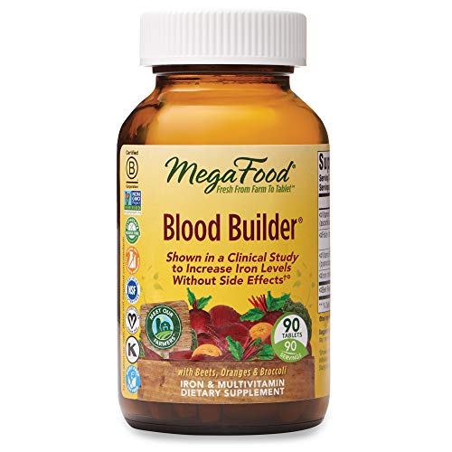 MegaFood, Blood Builder, Daily Iron Supplement and Multivitamin, Supports Energy and Red Blood Cell Production Without Nausea or Constipation, Gluten-Free, Vegan, 90 Tablets (90 Servings) (FFP)