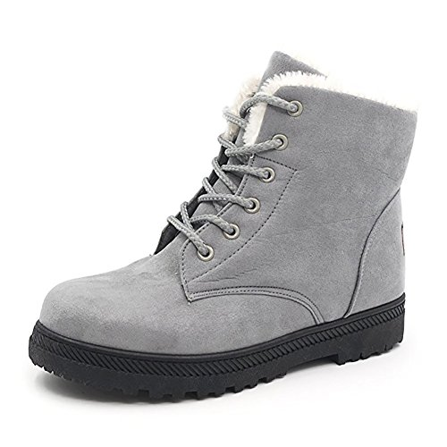 Wicky LS Damen Winter Worker Boots Outdoor Stiefeletten Warm Gefüttert Sneaker (41, Schwarz)