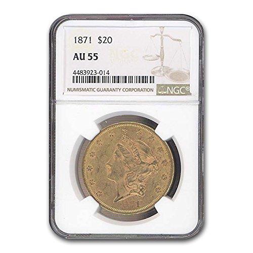 1871 $20 Liberty Gold Double Eagle AU-55 NGC G$20 AU-55 NGC