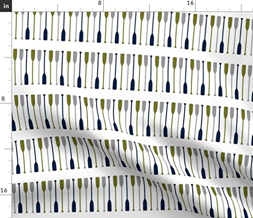Spoonflower Paddles Fabric - Paddles Oars Blue Paddles Trendy Navy Green Canoe Adventure Oars by Littlearrowdesign Printed on Organic Cotton Knit Ultra Fabric by The Yard ()