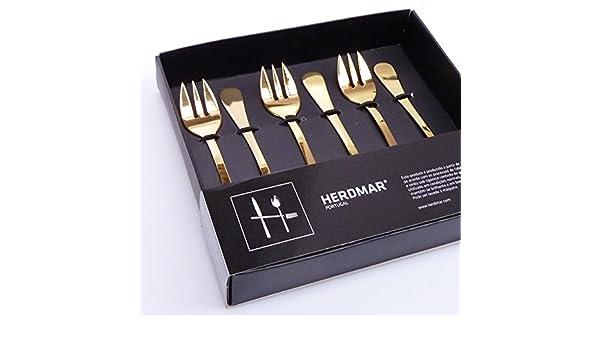 6 tenedores para ostras/Oyster Forks/Rocco en oro de herdmar: Amazon.es: Hogar