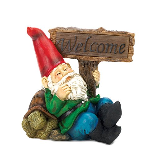 Zingz & Thingz 10015673 Welcome Garden Gnome Solar Statue (Sign Welcome Sleepy Gnome)