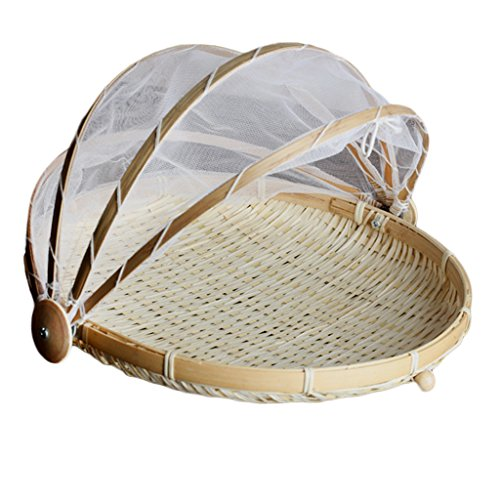 Homyl Covered Round & Rectangular Bamboo Storage Basket With Mesh Cover Food Tent Storage Basket - L Round