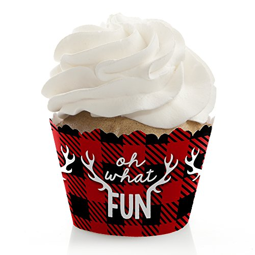 prancing plaid christmas holiday buffalo plaid party decorations party cupcake wrappers set of 12