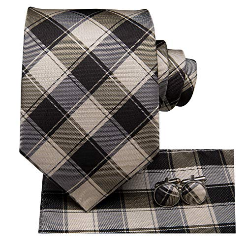 - Dubulle Brown Tie for Men Plaid Men Tie and Handkerchief Set Silk Wedding Necktie