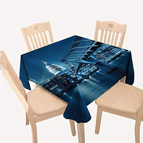 WilliamsDecor Cityscape Asian Tablecloth Millennium Bridge and St Pauls Cathedral at Night in London Monument Town SceneryDark Blue Small Square Tablecloth W36 xL36 -