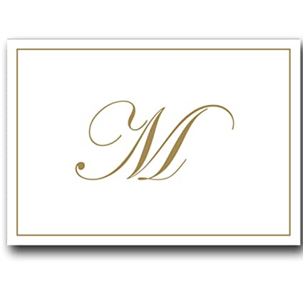 Amazon.: Gold Embossed Initial Note Cards Letter M Boxed Set