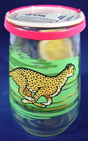 1995 Welch's Endangered Species Collection Jelly Jar Glass-#4 Cheetah with LID (Wwf Cheetah)