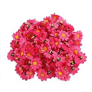 """Ewanda store 100Pcs Artificial Silk Sunflower Heads Gerbera Daisy Flowers Petals 1.6"""" for DIY Home Wedding Decoration,Garden Craft Art Party Decor(Hot Pink) 77"""