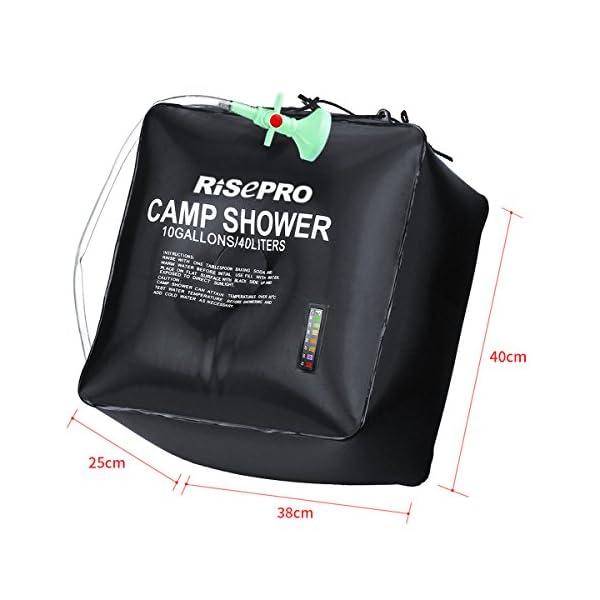 Risepro® XH07 Doccia solare, serbatoio a borsa da 40 litri, da campeggio, a riscaldamento solare con acqua a temperatura… 3 spesavip