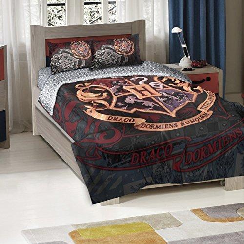 3pc Kids Harry Potter Movie Theme Comforter Twin/Full Set, Unisex, Magic Character Pattern, Dark Deep Background, Harry Potter Fan Merchandise, Hogwarts' Logo, color