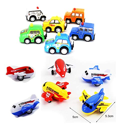 (12 Mini Push Pull Racer Cars Airplane Toy Set - 6 Pcs Play Vehicle Jeep Fast Racing Car and 6 Pcs Mini Airplane Aircraft - Great for Children Toddler Kids Birthday Gift Party Favor Assorted Color)