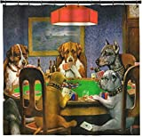 Dogs Playing Poker 1903 C.M.Coolidge Shower Curtain - 69''x70''
