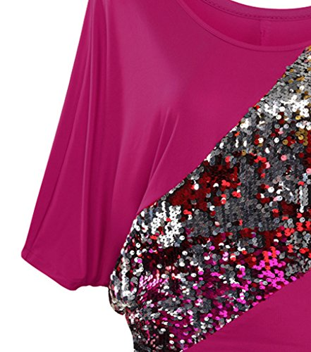 NiSeng Mujeres Lentejuelas Irregular Camiseta De Manga Corta De Cuello Redondo Camisa Lentejuelas De Lustre Bling Brillante De Cuello Del Barco De Blusa Suelta Rose Red