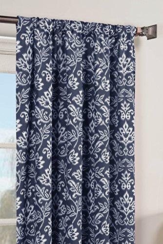 Window Elements Valencia Printed Cotton Extra Wide 104 x 84 in. Rod Pocket Curtain Panel Pair, Indigo (Ideas Indigo Bedroom)