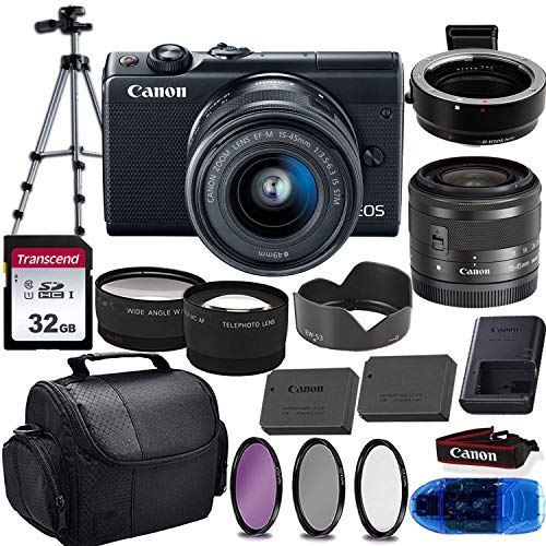 Canon EOS M100 Mirrorless Digital Camera (Black) & 15-45mm STM Lens w/EOS M Mount Adapter + 32GB Transcend Memory Card, Shoulder Bag & Essential Accessory Bundle (Renewed)