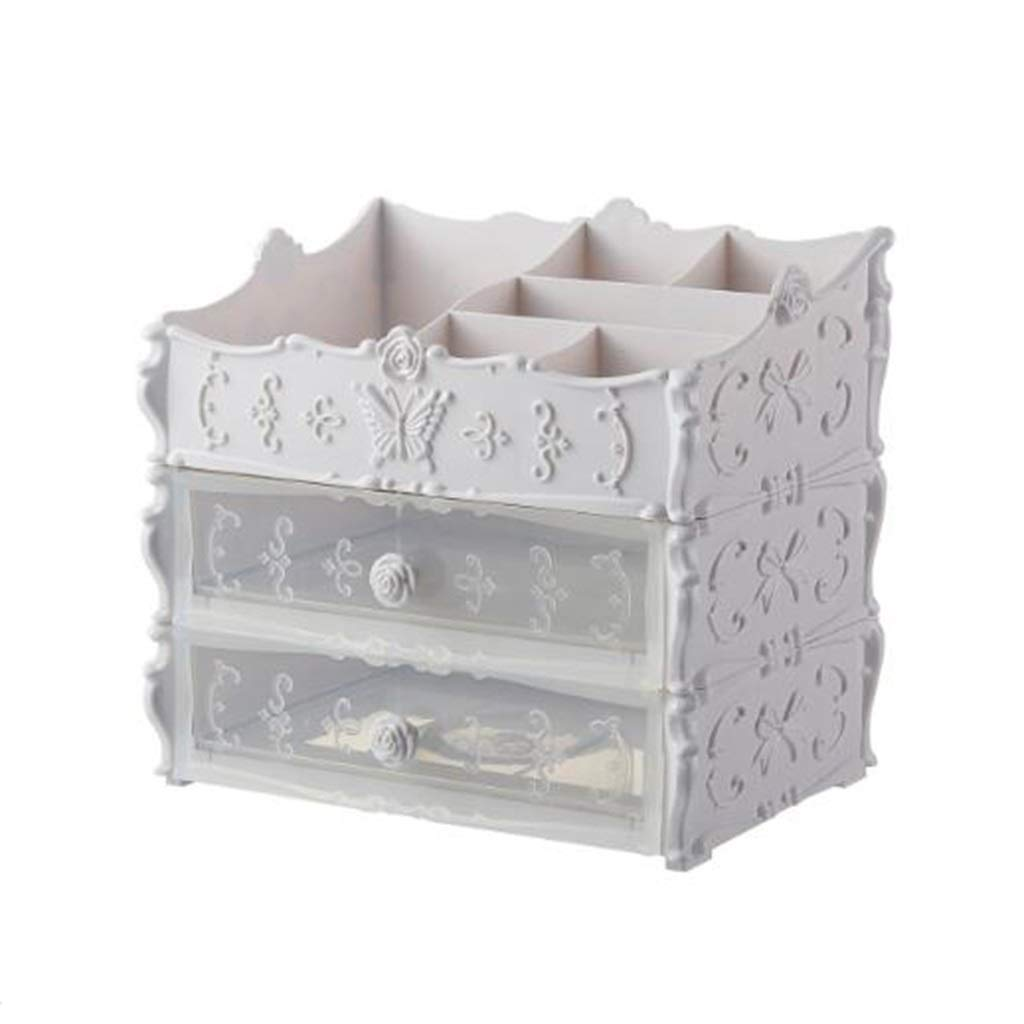 DDPGOFMB Cosmetic Organizer Cosmetic Organizer European Style Cosmetic Storage Box Separate Multilayer Plastic Drawer Shelf (Color: White2) (Color : White2, Size : -)