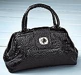 Collections Etc – Erica Faux Crocodile Handbag Purse – Black, Bags Central
