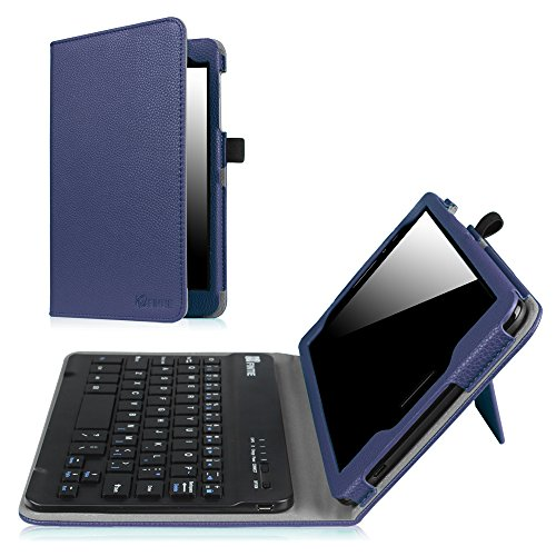 Fintie AT&T Trek 2 HD Keyboard Case (Model 6461A) - Premium PU Leather Folio Stand Cover with Removable Wireless Bluetooth Keyboard for ZTE ZPad 8 K81 8 inch 4G LTE Tablet 2017 Release, Navy